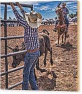Rodeo Gate Keeper Wood Print