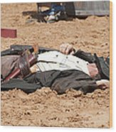 Rodeo Gunslinger Victim Color Wood Print
