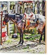 Rodeo Horse Three Wood Print