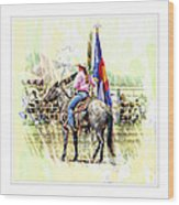 Rodeo Time In Colorado Wood Print