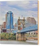 Roebling Bridge And Downtown Cincinnati 9850 Wood Print