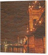 Roebling Bridge Stone N Wood Wood Print
