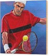 Roger Federer The Swiss Maestro Wood Print