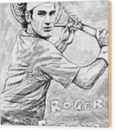 Roger Federer Art Drawing Sketch Portrait Wood Print