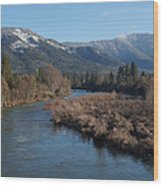 Rogue River And Mt Baldy In Winter Wood Print