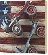 Rollar Skates With Wooden Flag Wood Print