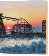 Roller Coaster After Sandy Wood Print by Tony Rubino