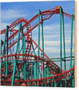 Roller Coaster Painting Wood Print