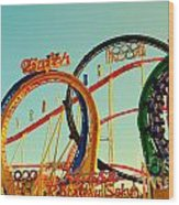 Rollercoaster At The Octoberfest In Munich Wood Print