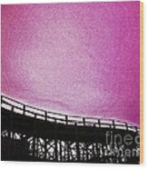Rollercoaster In Pink Wood Print