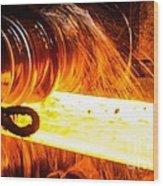 Rolling A Rail At A Steel Mill Wood Print