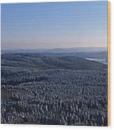 Rolling Hills And Forests Wood Print