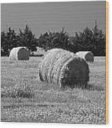 Rolling In The Hay Bw Wood Print