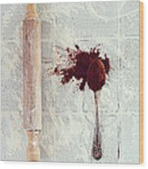 Rolling Pin, Teaspoon, Flour And Cocoa Wood Print