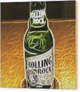 Rolling Rock Light Wood Print