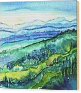 Rolling Tuscan Landscape Wood Print by Trudi Doyle