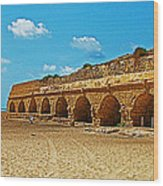 Roman Aqueduct From Mount Carmel 12 Km Away To Mediterranean Shore In Caesarea-israel  Wood Print