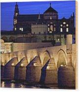 Roman Bridge And Mezquita In Cordoba At Dawn Wood Print