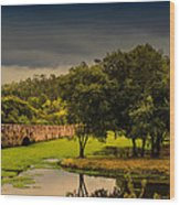 Roman Bridge By The Lake Wood Print
