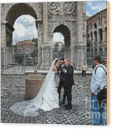 Roman Colosseum Bride And Groom Wood Print