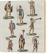 Roman Foot Soldiers Wood Print by Splendid Art Prints
