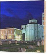 Roman Forum And St Donatus Church At Night Zadar Croatia Wood Print
