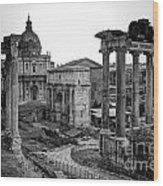 Roman Forum At Sunrise Wood Print