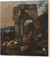 Roman Landscape With Cattle And Shepherds Wood Print