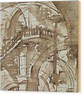 Roman Prison Wood Print by Giovanni Battista Piranesi