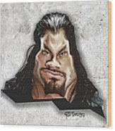 Roman Reigns Caricature By Gbs Wood Print