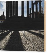 Roman Temple Silhouette Wood Print