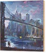 Romance By East River II Wood Print