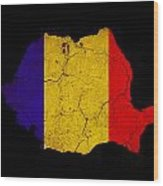 Romania Grunge Map Outline With Flag Wood Print