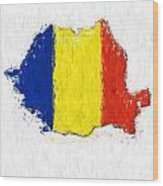 Romania Painted Flag Map Wood Print