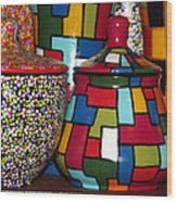 Romanian Colourful Pottery Wood Print