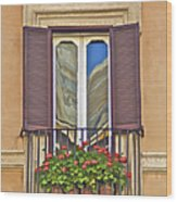 Romantic Balcony With Red Flowers In Rome Wood Print