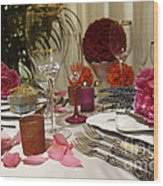 Romantic Dinner Setting Wood Print