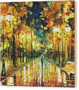 Romantic Lights - Palette Knife Oil Painting On Canvas By Leonid Afremov Wood Print