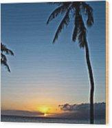 Romantic Maui Sunset Wood Print