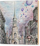 Romantic Montreal Canada - Watercolor Pencil Wood Print