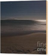 Romantic Moonlight Ocean Sand Beach Long Exposure Wood Print