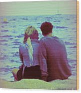 Romantic Seaside Moment Wood Print
