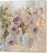 Romantic Shabby Chic Dreamy Pink And White Peonies - Shabby Chic Peonies In Basket Wood Print