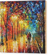 Romantic Stroll - Palette Knlfe Oil Painting On Canvas By Leonid Afremov Wood Print