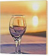 Romantic Sunset Drink With Wine Glass Wood Print