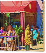 Romantic Terrace Dinner Date Piazzetta Bistro Rue St Denis French Cafe Street Scene Carole Spandau  Wood Print