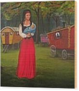 Romany Mother And Child Wood Print