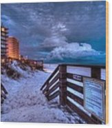 Romar Beach Clouds Wood Print
