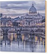 Rome And The River Tiber At Dusk Wood Print