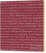 Rome In Words Red Wood Print